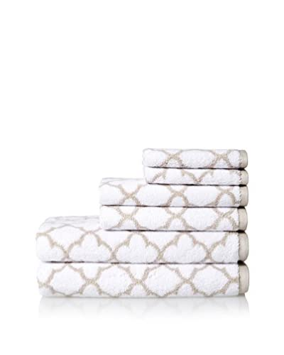 Espalma Irongate 6-Piece Towel Set, White/Sand