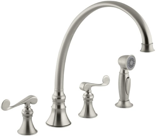 KOHLER K-16111-4-BN Revival Kitchen Sink Faucet, Vibrant Brushed Nickel