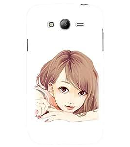 Printvisa Sweet Faced Girl Sketch Back Case Cover for Samsung Galaxy Grand i9080:::Samsung Galaxy Grand i9082