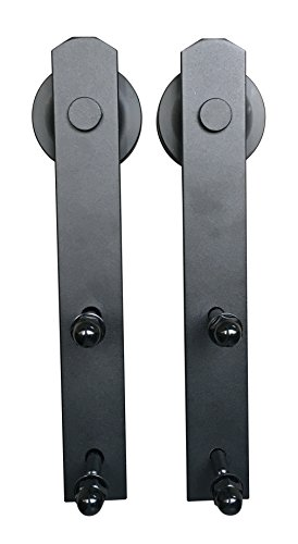 eweiu0027s homewares 13ft antique black steel double sliding barn wood door hardware kit