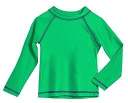 Baby Boys\' Solid Rashguard Swimming Tee Shirt Rash Guard SPF Sun Protection for Summer Beach Pool and Play, L/S Elf, 18-24 mon.