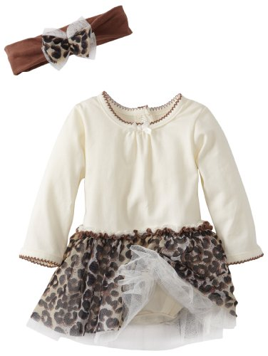 Vitamins Baby-Girls Newborn 2 Piece Dress Set Tan Cheetah, White, 9 Months