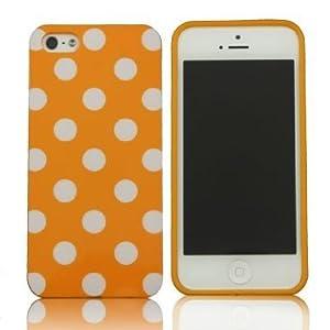 SUPWISER-5SYUANDIAN29 Polka Dot Gloss Flex Gel Case For iPhone 5/5S Orange/White Dot by SUPWISER