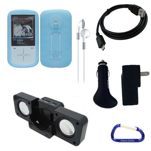 Gizmo Dorks Silicone Skin Case (Blue) and Executive Accessories Bundle for the Sandisk Sansa Fuze+ MP3 Player