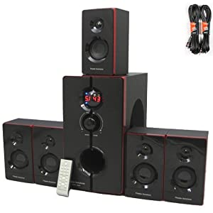 Theater Solutions 5.1 Home Theater 800 Watt Speaker System with Built in Bluetooth and 2 Extension Cables TS516BT-2