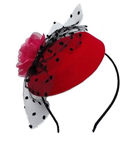 Fascinator Hair Clip Head Hoop Veil Wool Flower Hat Derby Cocktail Party Wedding Purple Red (Tiny Hat Hair Clip compare prices)