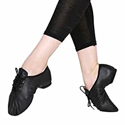 Womens Jazz Ballet Dance Shoes Leather Lace Up Soft Soled Sell Black 41#