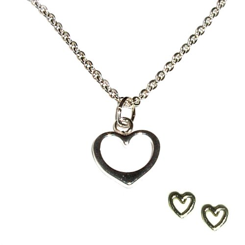 Sterling Silver Children's Open Heart Charm Necklace and Earring Set for Girls in Gift Box, 14