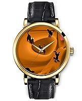 SPRAWL Classic Analog Round Face Genuine Black Leather Gold Watches Present for Women Fun Design --- Black Cat Watch by SPRAWL