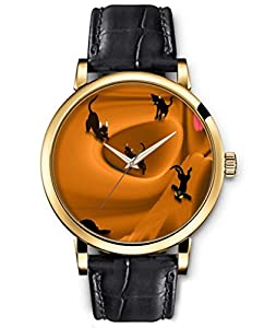 SPRAWL Classic Analog Round Face Genuine Black Leather Gold Watches Present for Women Fun Design --- Black Cat Watch by SPRAWL