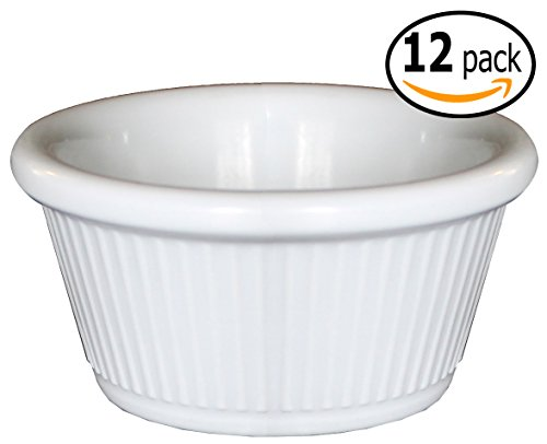 Clipper Fluted Round Stackable Small Melamine Condiment Ramekins with Pan Scraper, White (12-Pack, 2 Ounce) (Tartar Sauce Cups compare prices)