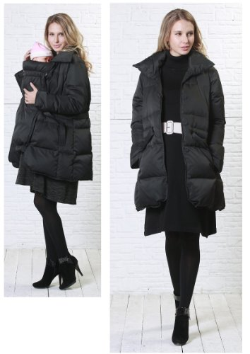 Front button waist ribbon down Maternity coat with baby pouch Black UK size 12-14