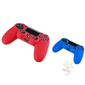 Everydaysource Compatible with Sony PlayStation PS4 Blue Silicone Skin Controller Case + Red Silicone Skin Controller Case