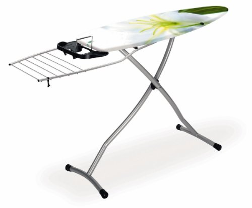 Brabantia Ironing Board with Pull-out Steam Iron Rest and Foldable Linen Rack, Size D, 135 x 45cm, 35mm Metallic Grey Frame, Blossom Cover