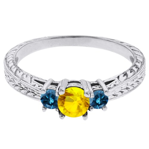 0.60 Ct Round Yellow Sapphire Blue Diamond 14K White Gold 3-Stone Ring