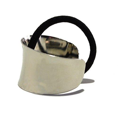 Beauty Metal Gold Silver Fancy Vintage Elastic Hair Tie Up (Silver)