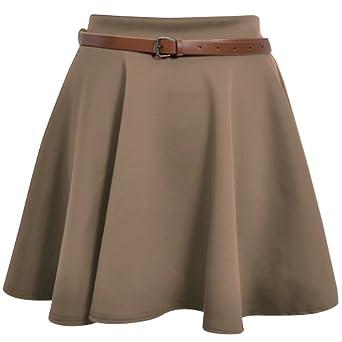 Skater Belted Stretch Waist Plain Flippy Flared Short Skirt Taupe Womens Size 8