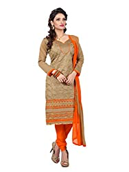 7 Colors Lifestyle Beige Coloured Embroidered Chanderi Unstitched Dress Material