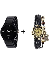 GTC COMBO OF BLACK QUARTZ ANALOG WATCH FOR MAN WITH BLACK DESIGNER LEATHER AN...