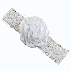 BELLAZAARA Christening Baby White Lace Rose Flower Headband