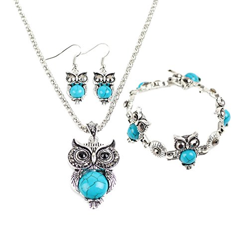 Miraculous Garden Womens Vintage Owl Jewelry Sets Silver Retro Turquoise Gemstone Owl Pendant Necklace Drop Earrings Charm Bracelet Set