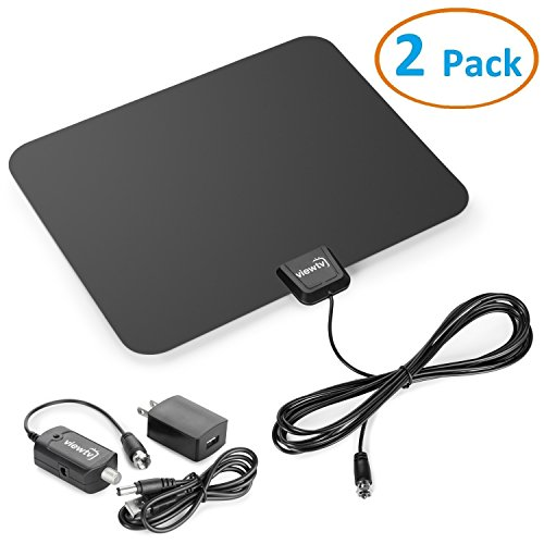 ViewTV Flat HD Digital Indoor Amplified TV Antenna – 50 Miles Range – Detachable Amplifier Signal Booster – 12ft Coax Cable – Black – 2 Pack