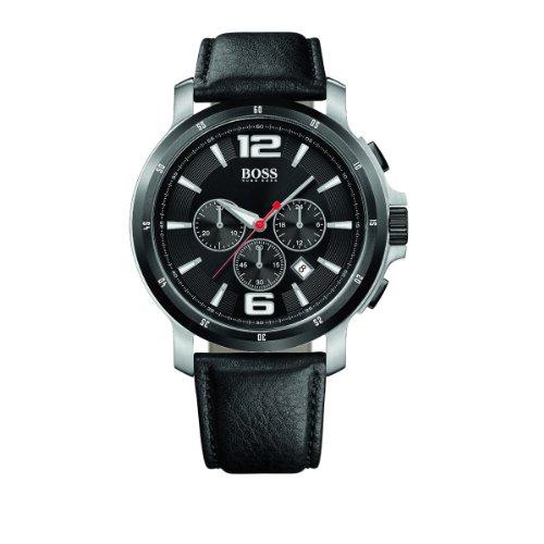 Hugo Boss 1512598 - Reloj cronógrafo de mujer de cuarzo con correa de piel negra