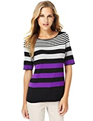 Slash Neck Striped Top with Stay New™