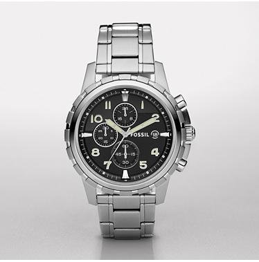 Fossil Men's FS4542 Stainless Steel Bracelet Black Analog Dial Chronograph Watch