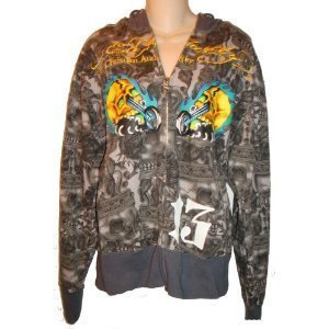 Men's Ed Hardy Hoodie All Over Specialty Charcoal Available in Several Sizes (Medium)
