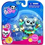Hasbro Year 2010 Littlest Pet Shop Portable Pets Series Bobble Head Pet Figure Set #1604 - Blue Koala With Tree...