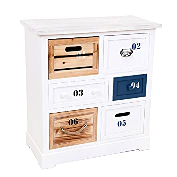 indhouse Dresser in Wood with 6Drawers Savona