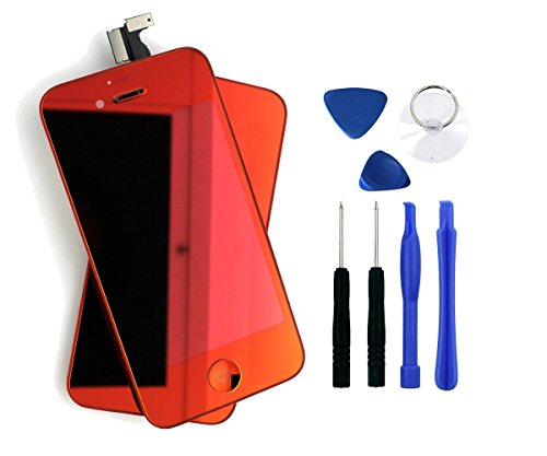 For Apple Iphone 4 4G (At&T/Gsm Model) Touch Screen Glass Replacement Digitizer With Frame + Lcd Assembly + 7 Piece Tool Kit (Mirror Red)
