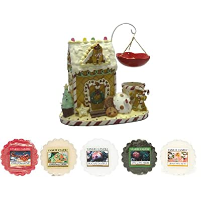 Yankee Candle - Gingerbread - Hanging LED Wax Potpourri Tart Burner With Five Scented Wax Tarts (Including: 1x Apple & Pine Needle, 1x Christmas Rose, 1x Sugared Apple, 1x Christmas Eve, 1x Christmas Cookie) from Yankee Candle