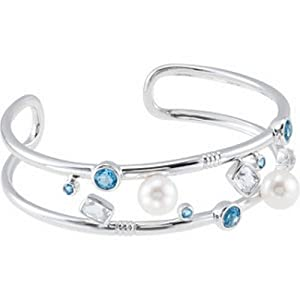 IceCarats Designer Jewelry Sterling Silver Freshwater Cultured Pearl, Genuine Swiss Blue Topaz And Genuine Crystal Cuff Braclet