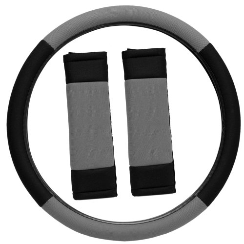 Oxgord Sport Mesh Steering Wheel Cover And Seat Belt Pad Set For The Ford Focus Coupe In Gray & Black Mesh