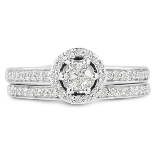 1/2ct Pave Diamond Bridal Engagement Ring Set in 14k White Gold ( GH I1 ) With Free Blitz Jewelry Cleaner