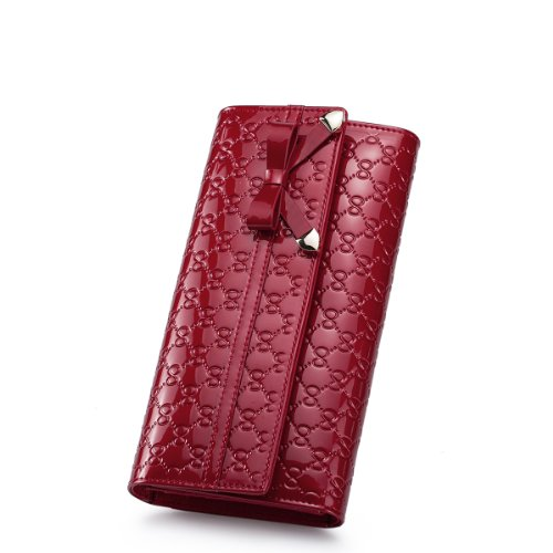 Nucelle Butterfly Dream Series Bow Tie Embossed Patent Leather Trifold Women'S Clutch Wallet (The Bright Red)