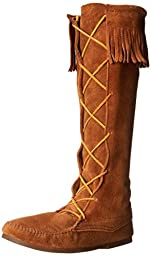 Minnetonka Men\'s Front Lace Knee High Boot,Brown,11 M US