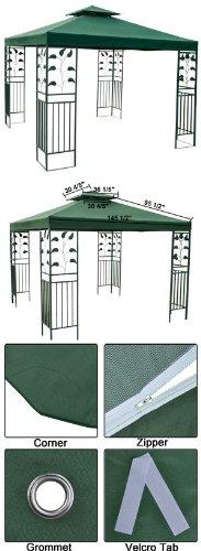 12' x 12' Green Gazebo Canopy Replacement Top