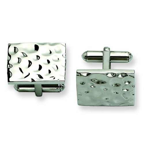Stainless Steel Hammered Polished Cuff Links. Metal Weight- 14.42g.