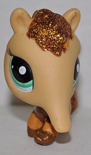 Anteater #2133 (Tan, Gold Glitter) - Littlest Pet Shop (Retired) Collector Toy - LPS Collectible Replacement Single Figure - Loose (OOP Out of Package & Print) - 1
