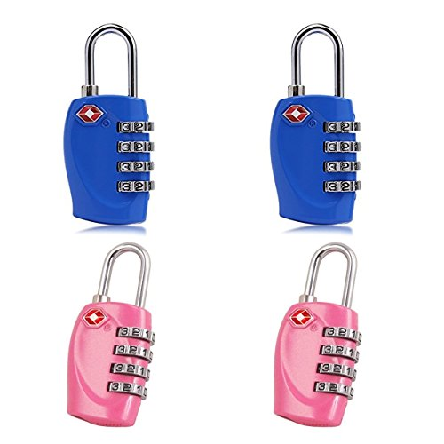 Newtion 4 x TSA Security Padlock 4-dial Combination Travel Suitcase Luggage Bag Code in 2 Colours (Blue, Pink) (Dial Padlock compare prices)