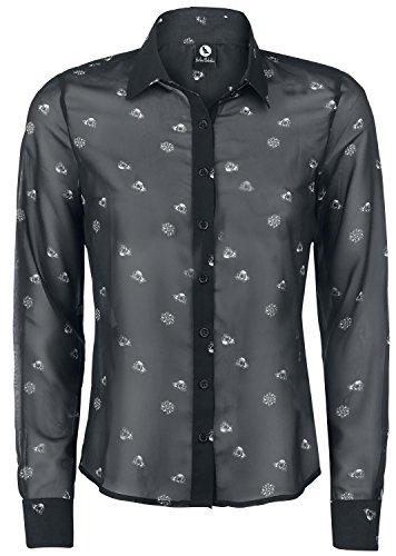 Fearless Illustration Cranium Confettti Camicia nero L