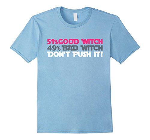 [Men's 51% Good Witch 49% Bad Witch T-Shirt. Happy Halloween! XL Baby Blue] (Good Witch And Bad Witch Costumes)