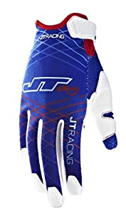 JT Racing USA Evolve Lite Dirt Bike MX Motocross Gloves with Lazer Graphics (Red/White/Blue, Large)