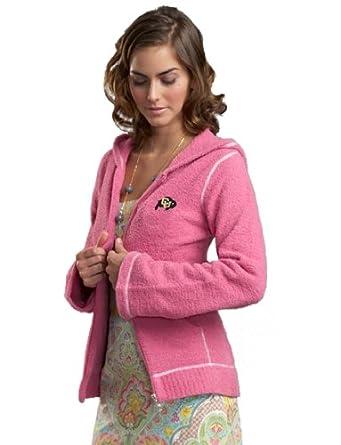 NCAA University of Colorado Kashwere U Full-Zip Hoodie (Pink White, Medium 4-6) by Kashwere U