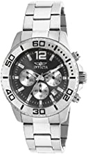 Invicta Men's Quartz Watch with Black Dial Chronograph Display and Silver Stainless Steel Bracelet 17396