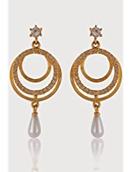 Estelle Gold Plated Danglig Earring With Pearl For Women
