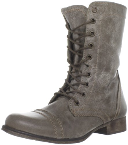 Steve Madden Women's Troopa Lace-Up Boot, Stone, 8.5 M US (Boots Footwear)